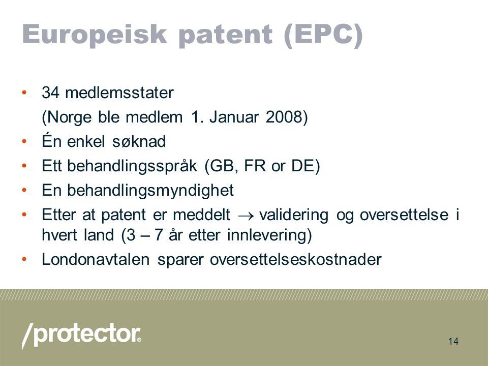 15 Konsekvenser av at Norge ble medlem av EPO Mulig å innlevere søknad til EPO uten å bruke utenlandsk patentfullmektig –Noe kostnadsbesparelser I løpet av 3-4 år vil antallet patenter som gjelder for Norge trolig stige dramatisk –Større fare for inngrep –Behov for å følge bedre med Norske selskaper vil ha større oppmerksomhet mot patentrettigheter