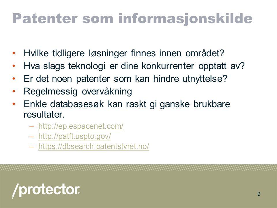10 Behandling av søknaden Ved første søknad i Norge: Første uttalelse omtrent 6-7 måneder etter innlevering Gir en indikasjon på patenterbarhet Mulig å endre patentkrav for å omgå kjente løsninger –MEN IKKE LEGGE TIL NOE SOM IKKE STÅR I SØKNADEN.