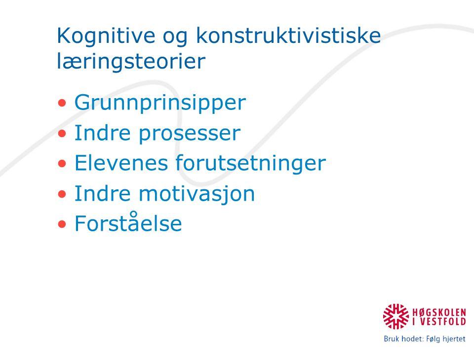 Kognitive og konstruktivistiske læringsteorier Grunnprinsipper Indre prosesser Elevenes forutsetninger Indre motivasjon Forståelse