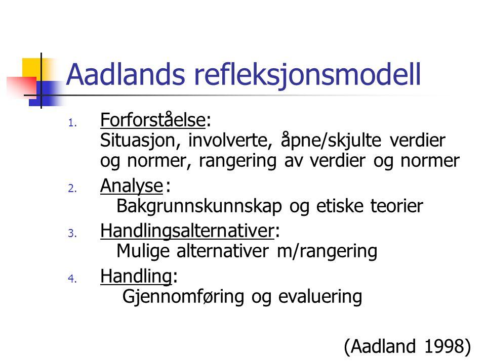 GODT-modellen G: grunnlag O: omstendigheter D: deontologiske perspektiver (plikt) T: teleologiske perspektiver (konsekvenser ) (Lingås 1999)