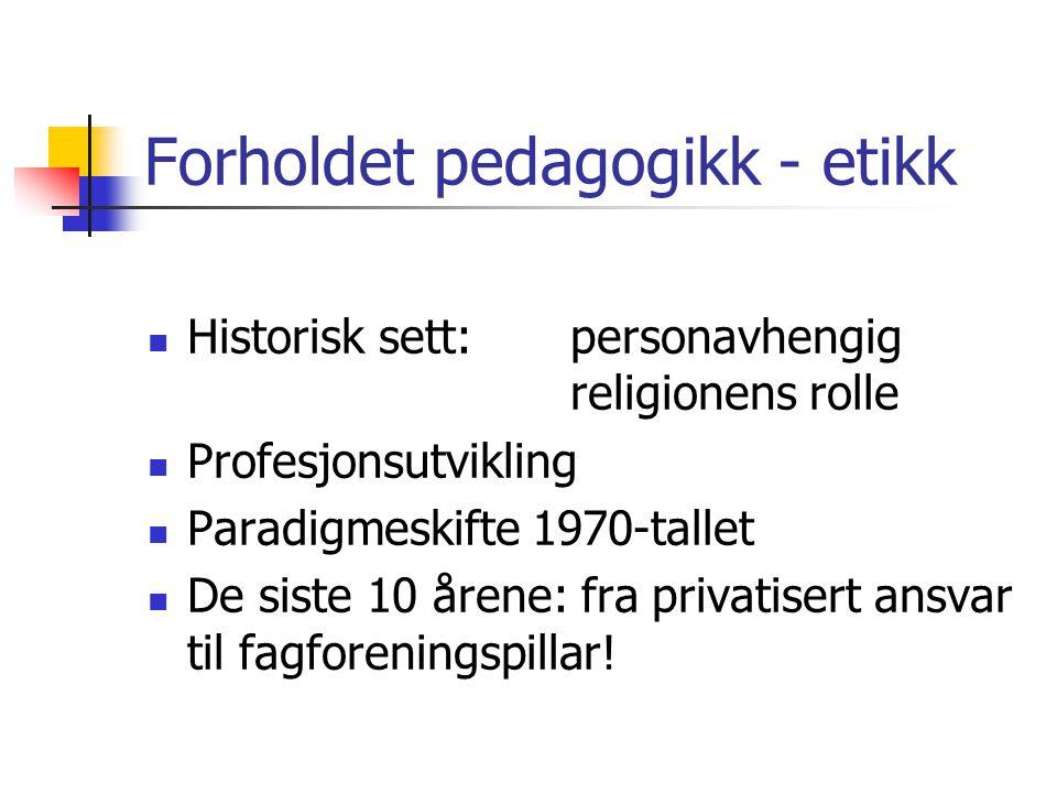 Pensum Hareide, Berger J. (1997) En dyd av nødvendighet. Innføring i yrkesetikk for lærere. Sandefjord: Læremiddel- forlaget. Imsen, Gunn (2006): Lære