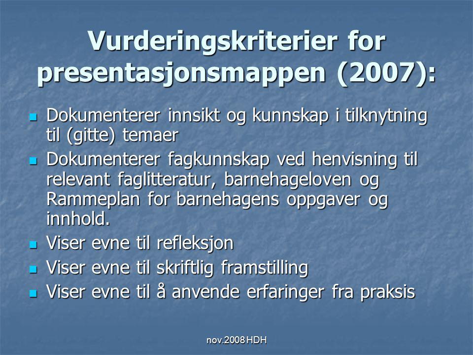 nov.2008 HDH Vurderingskriterier for presentasjonsmappen (2007): Dokumenterer innsikt og kunnskap i tilknytning til (gitte) temaer Dokumenterer innsik