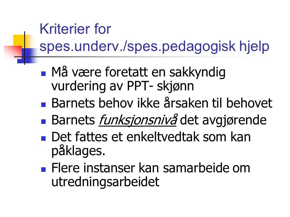 Kriterier for spes.underv./spes.pedagogisk hjelp Må være foretatt en sakkyndig vurdering av PPT- skjønn Barnets behov ikke årsaken til behovet Barnets