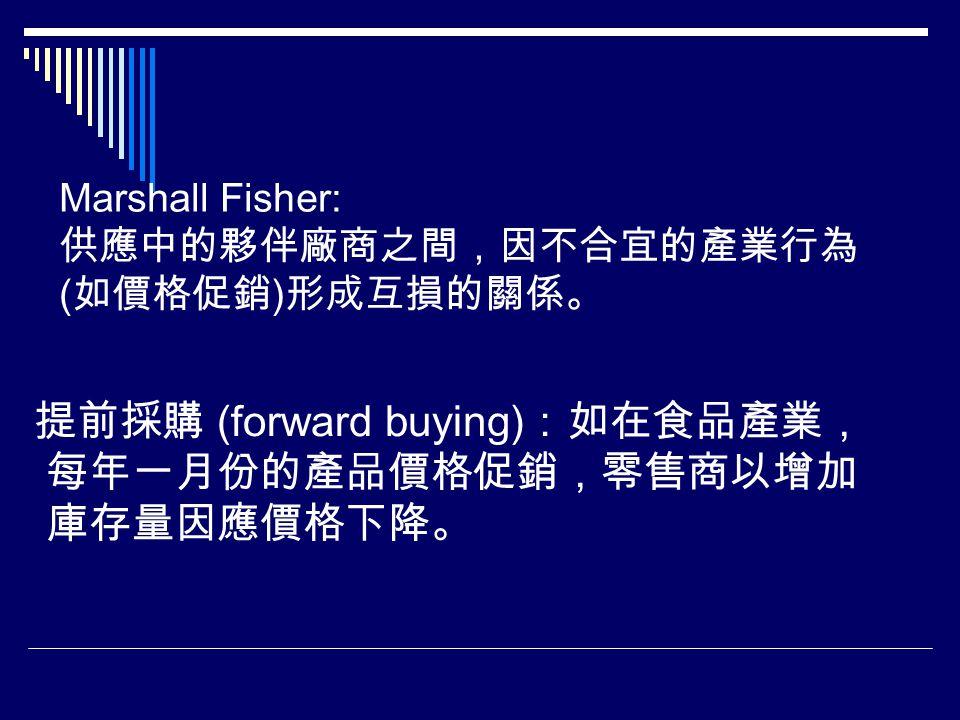 Marshall Fisher: 供應中的夥伴廠商之間,因不合宜的產業行為 ( 如價格促銷 ) 形成互損的關係。 提前採購 (forward buying) :如在食品產業, 每年一月份的產品價格促銷,零售商以增加 庫存量因應價格下降。