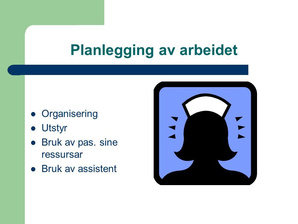 Planlegging av arbeidet Organisering Utstyr Bruk av pas. sine ressursar Bruk av assistent