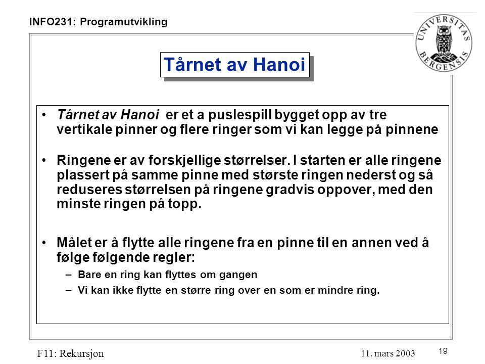 19 INFO231: Programutvikling F11: Rekursjon 11.