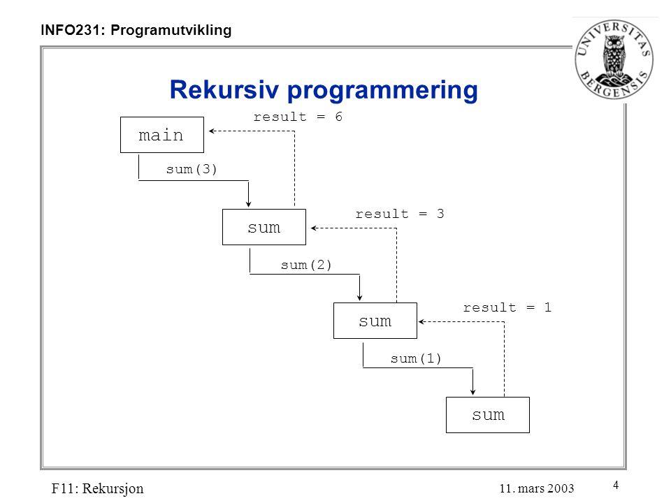 4 INFO231: Programutvikling F11: Rekursjon 11.