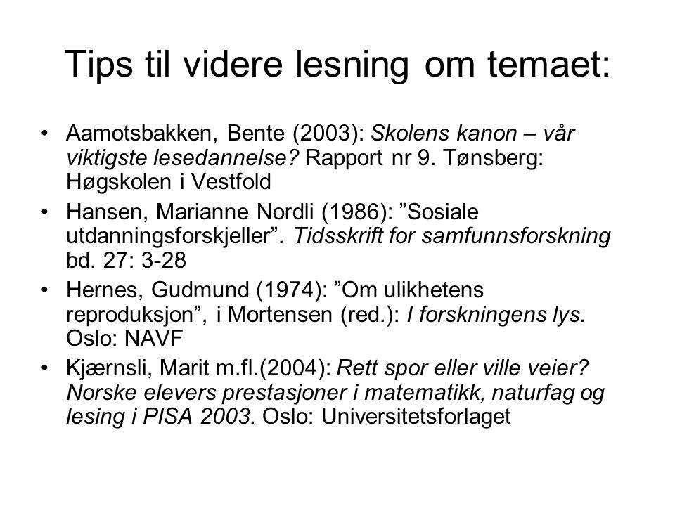 Tips til videre lesning om temaet: Aamotsbakken, Bente (2003): Skolens kanon – vår viktigste lesedannelse? Rapport nr 9. Tønsberg: Høgskolen i Vestfol