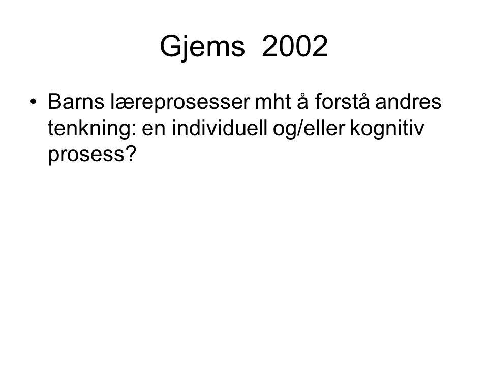 Gjems 2002 Barns læreprosesser mht å forstå andres tenkning: en individuell og/eller kognitiv prosess?