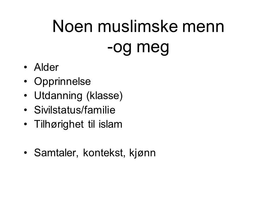 Noen muslimske menn -og meg Alder Opprinnelse Utdanning (klasse) Sivilstatus/familie Tilhørighet til islam Samtaler, kontekst, kjønn