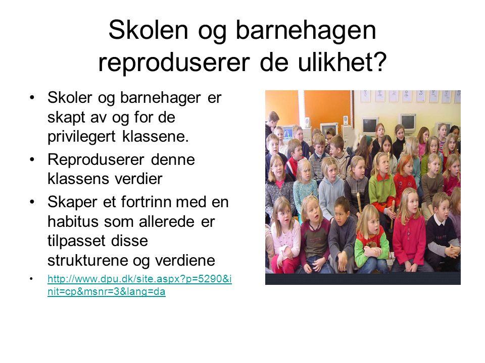 Skolen og barnehagen reproduserer de ulikhet.