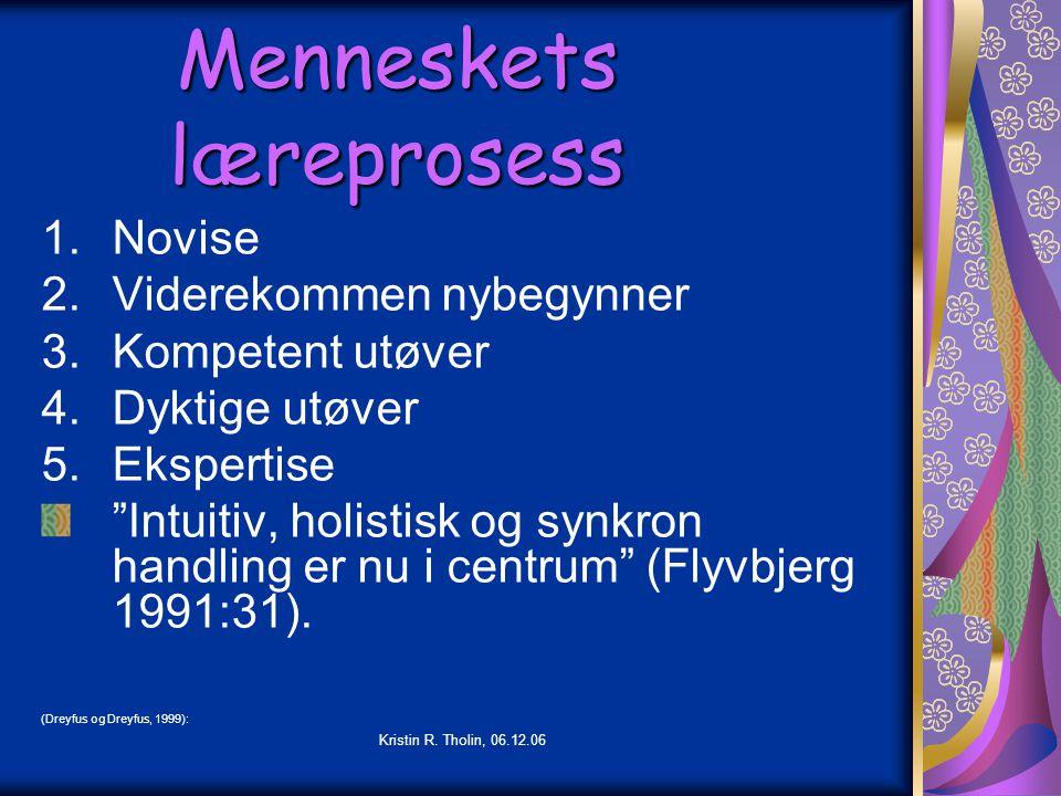 """Kristin R. Tholin, 06.12.06 Menneskets læreprosess 1.Novise 2.Viderekommen nybegynner 3.Kompetent utøver 4.Dyktige utøver 5.Ekspertise """"Intuitiv, holi"""