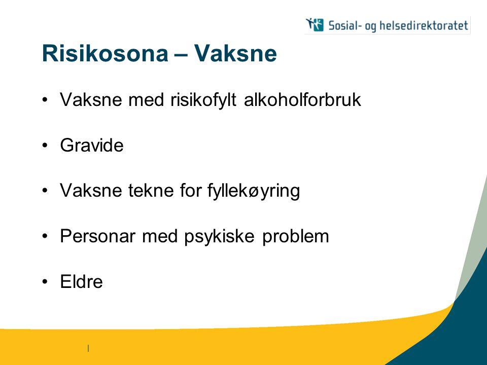 | Risikosona – Vaksne Vaksne med risikofylt alkoholforbruk Gravide Vaksne tekne for fyllekøyring Personar med psykiske problem Eldre