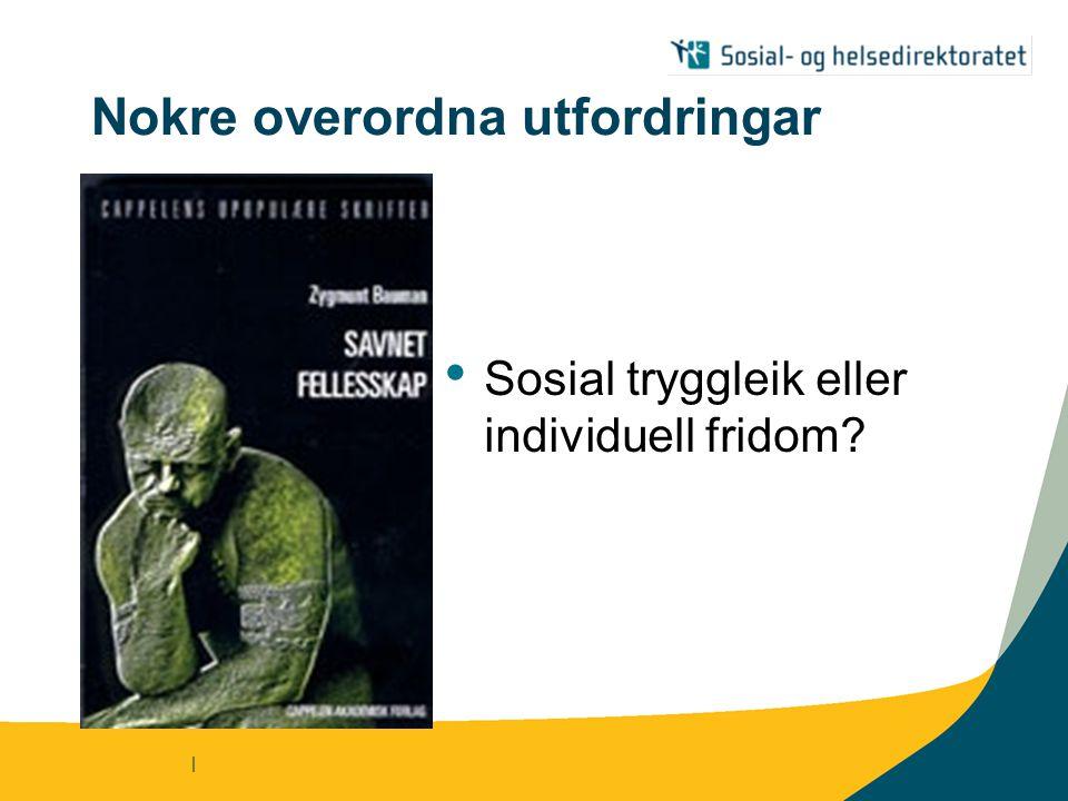 | Nokre overordna utfordringar Sosial tryggleik eller individuell fridom