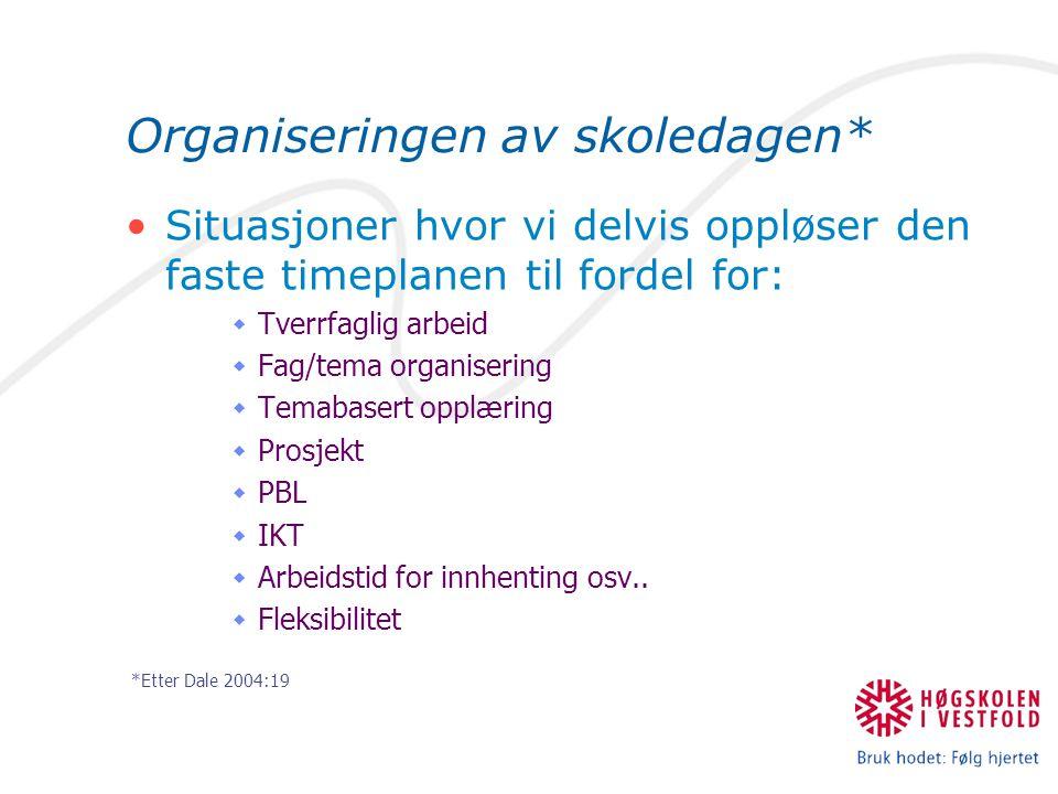 Organiseringen av skoledagen* Situasjoner hvor vi delvis oppløser den faste timeplanen til fordel for:  Tverrfaglig arbeid  Fag/tema organisering 