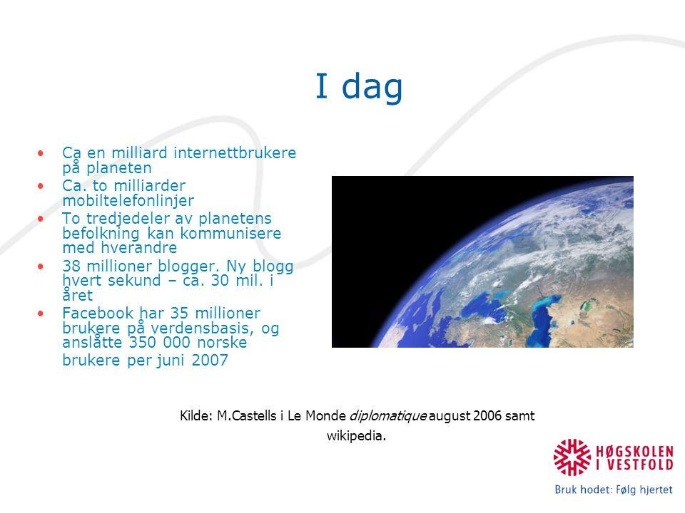 I dag Ca en milliard internettbrukere på planeten Ca. to milliarder mobiltelefonlinjer To tredjedeler av planetens befolkning kan kommunisere med hver