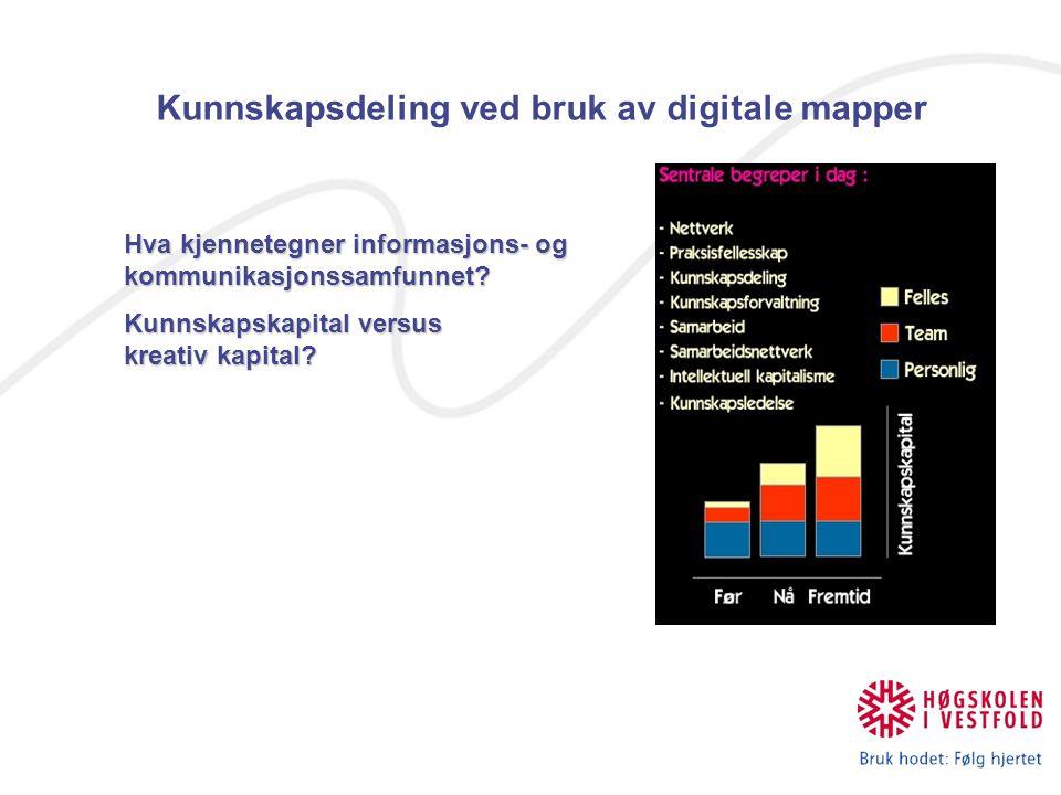 Kunnskapsdeling ved bruk av digitale mapper Hva kjennetegner informasjons- og kommunikasjonssamfunnet? Kunnskapskapital versus kreativ kapital?