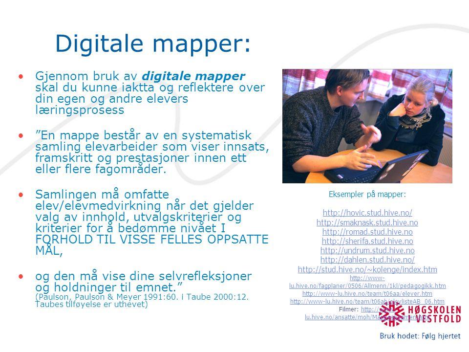 """Gjennom bruk av digitale mapper skal du kunne iaktta og reflektere over din egen og andre elevers læringsprosess """"En mappe består av en systematisk sa"""