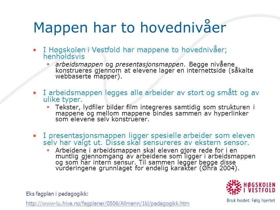 Mappen har to hovednivåer I Høgskolen i Vestfold har mappene to hovednivåer; henholdsvis  arbeidsmappen og presentasjonsmappen. Begge nivåene konstru