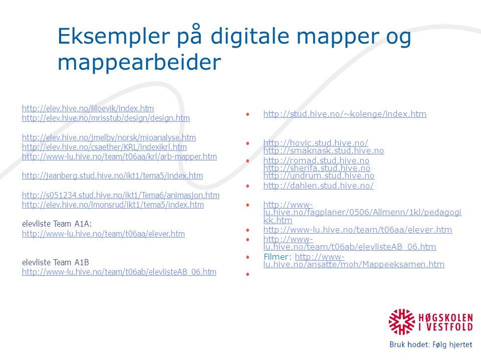 Eksempler på digitale mapper og mappearbeider http://stud.hive.no/~kolenge/index.htm http://hovic.stud.hive.no/ http://smaknask.stud.hive.nohttp://hov
