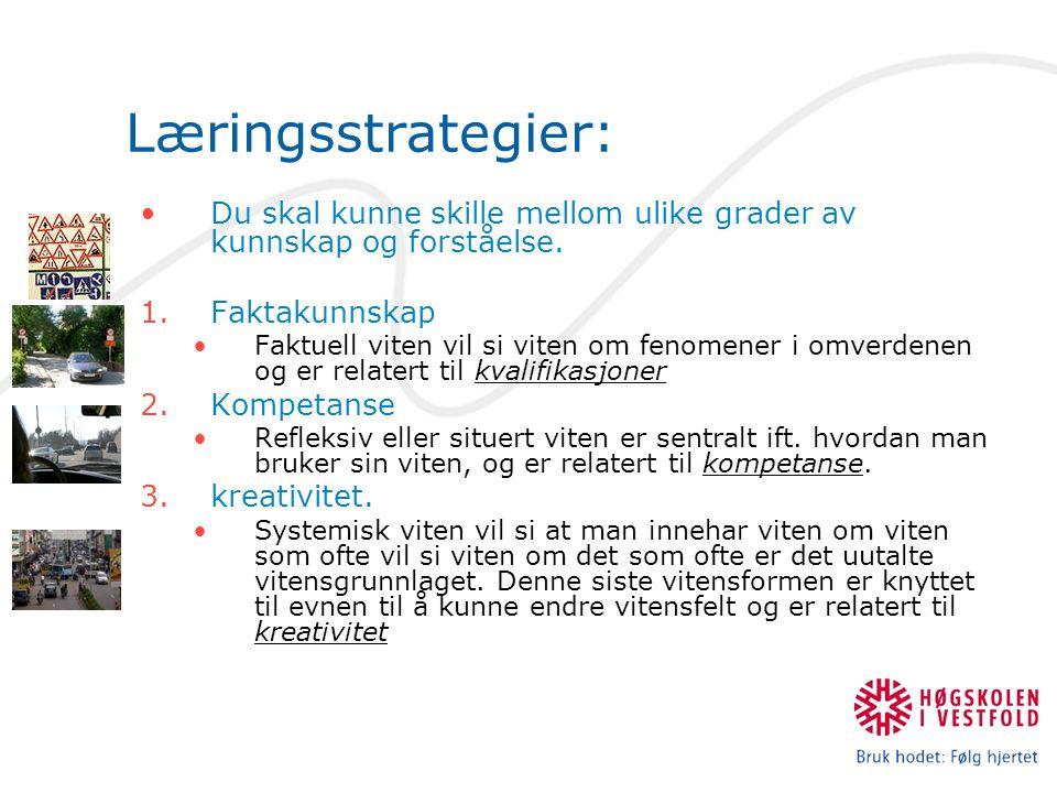 Læringsstrategier: Du skal kunne skille mellom ulike grader av kunnskap og forståelse. 1.Faktakunnskap Faktuell viten vil si viten om fenomener i omve