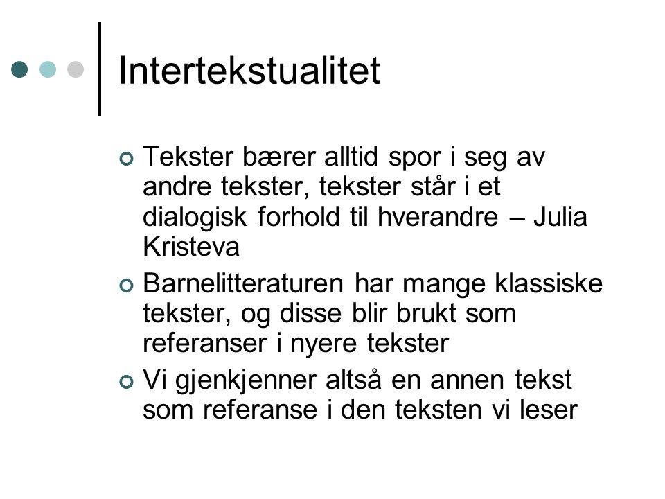 Intertekstualitet Tekster bærer alltid spor i seg av andre tekster, tekster står i et dialogisk forhold til hverandre – Julia Kristeva Barnelitteratur