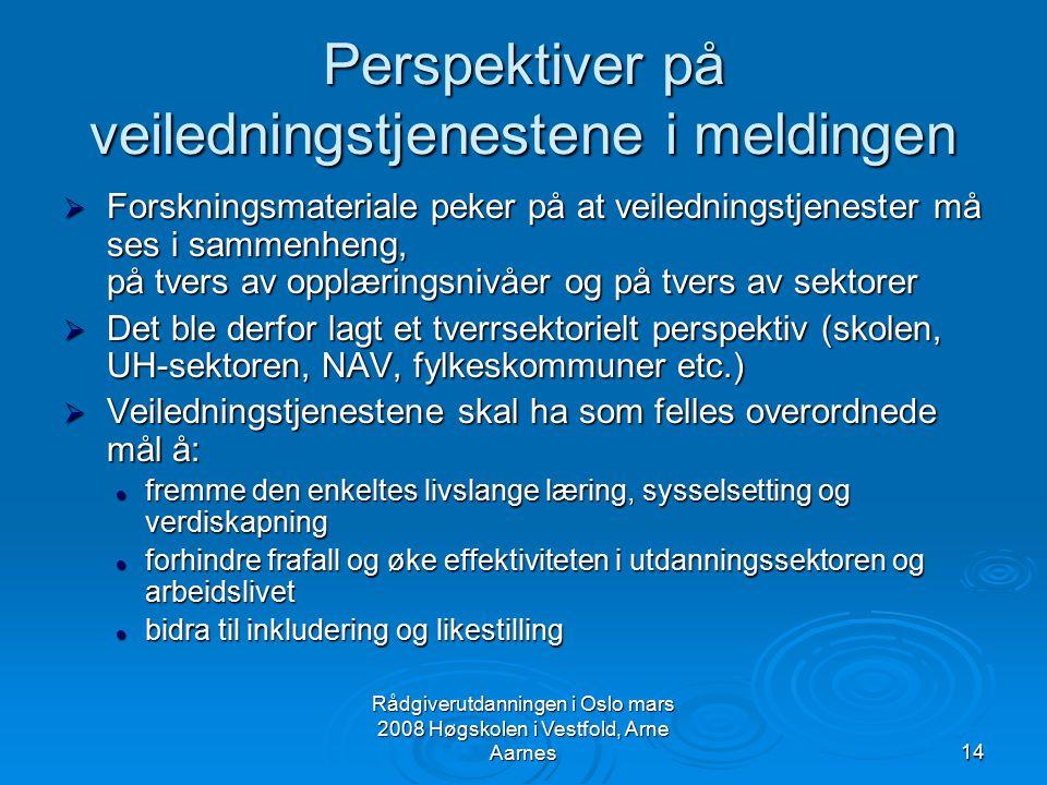 Rådgiverutdanningen i Oslo mars 2008 Høgskolen i Vestfold, Arne Aarnes14 Perspektiver på veiledningstjenestene i meldingen  Forskningsmateriale peker