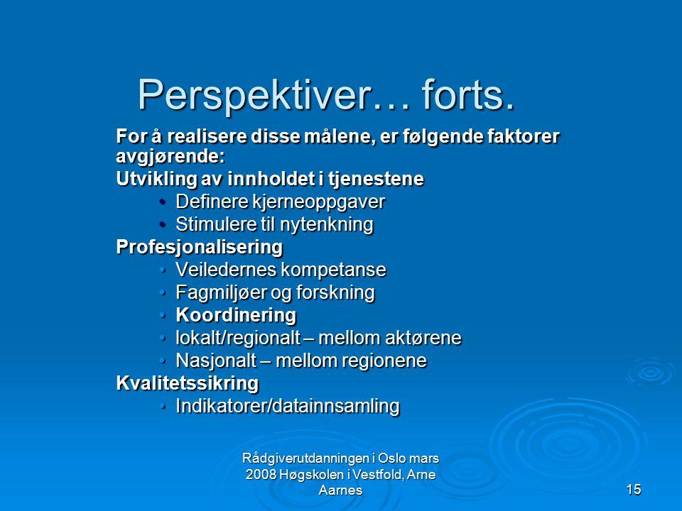 Rådgiverutdanningen i Oslo mars 2008 Høgskolen i Vestfold, Arne Aarnes15 Perspektiver… forts. For å realisere disse målene, er følgende faktorer avgjø