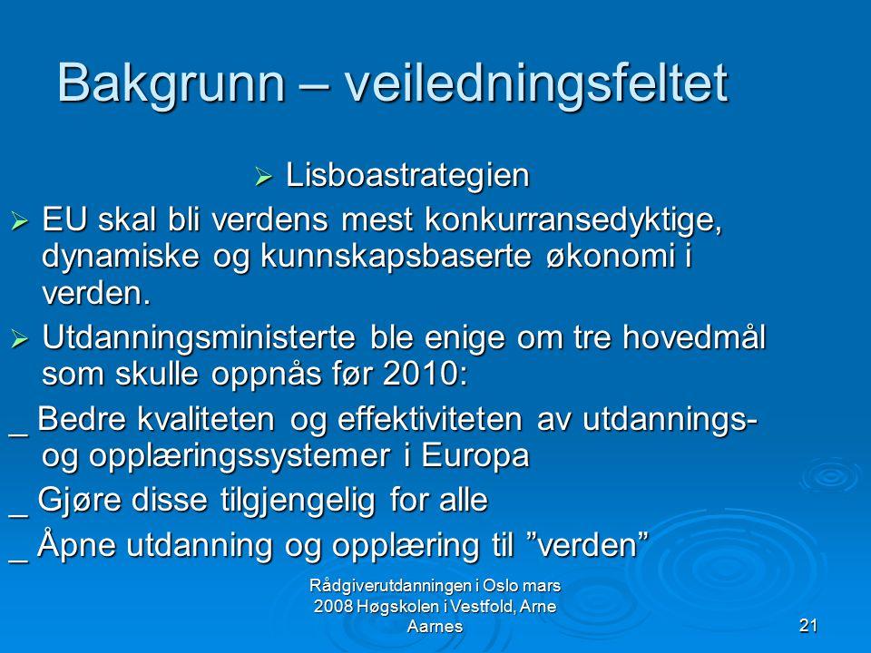 Rådgiverutdanningen i Oslo mars 2008 Høgskolen i Vestfold, Arne Aarnes21 Bakgrunn – veiledningsfeltet  Lisboastrategien  EU skal bli verdens mest ko