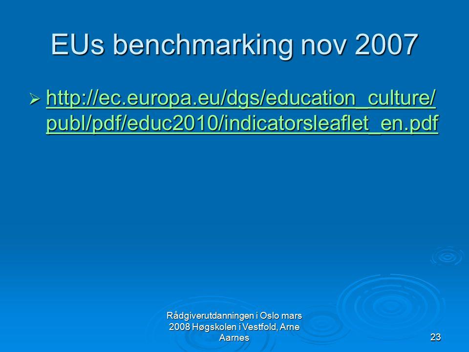 Rådgiverutdanningen i Oslo mars 2008 Høgskolen i Vestfold, Arne Aarnes23 EUs benchmarking nov 2007  http://ec.europa.eu/dgs/education_culture/ publ/p