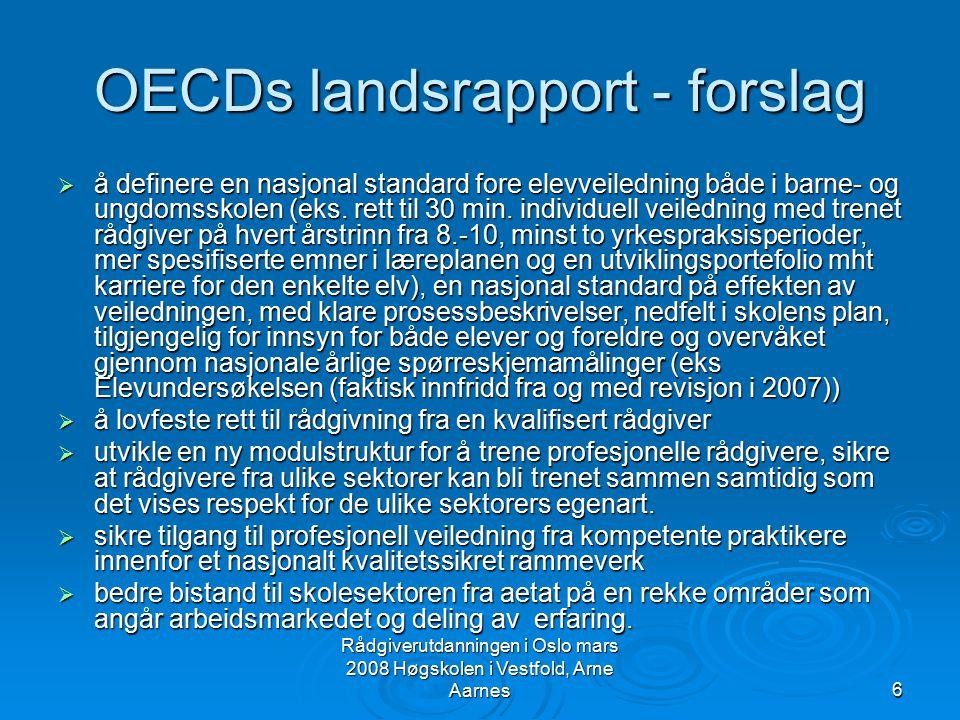 Rådgiverutdanningen i Oslo mars 2008 Høgskolen i Vestfold, Arne Aarnes6 OECDs landsrapport - forslag  å definere en nasjonal standard fore elevveiled