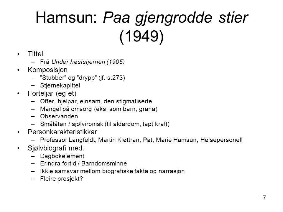 """7 Hamsun: Paa gjengrodde stier (1949) Tittel –Frå Under høststjernen (1905) Komposisjon –""""Stubber"""" og """"drypp"""" (jf. s.273) –Stjernekapittel Forteljar ("""
