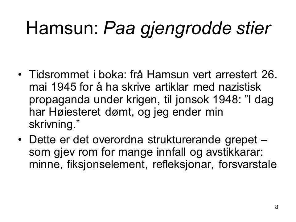 8 Hamsun: Paa gjengrodde stier Tidsrommet i boka: frå Hamsun vert arrestert 26. mai 1945 for å ha skrive artiklar med nazistisk propaganda under krige
