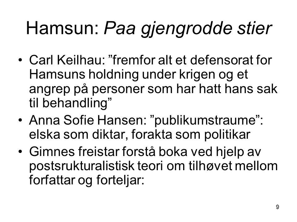 """9 Hamsun: Paa gjengrodde stier Carl Keilhau: """"fremfor alt et defensorat for Hamsuns holdning under krigen og et angrep på personer som har hatt hans s"""