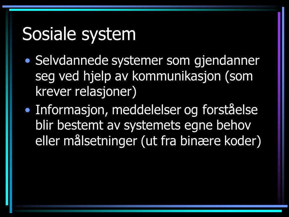 Sosiale system Selvdannede systemer som gjendanner seg ved hjelp av kommunikasjon (som krever relasjoner) Informasjon, meddelelser og forståelse blir bestemt av systemets egne behov eller målsetninger (ut fra binære koder)