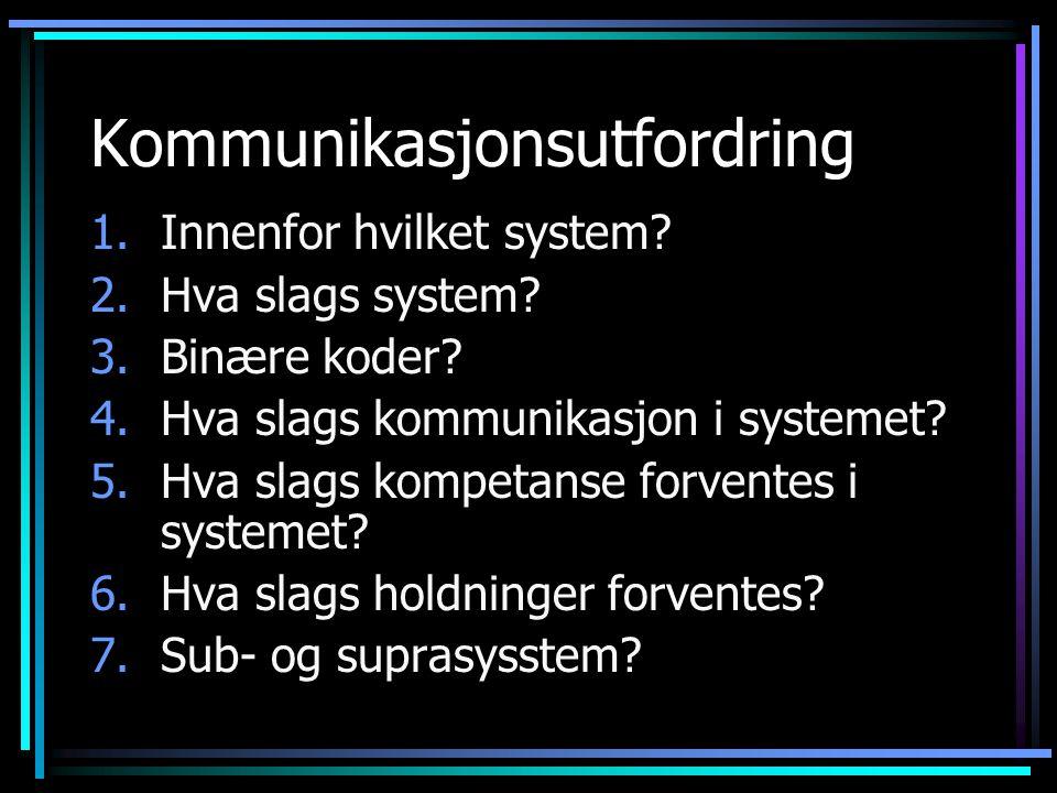 Kommunikasjonsutfordring 1.Innenfor hvilket system? 2.Hva slags system? 3.Binære koder? 4.Hva slags kommunikasjon i systemet? 5.Hva slags kompetanse f
