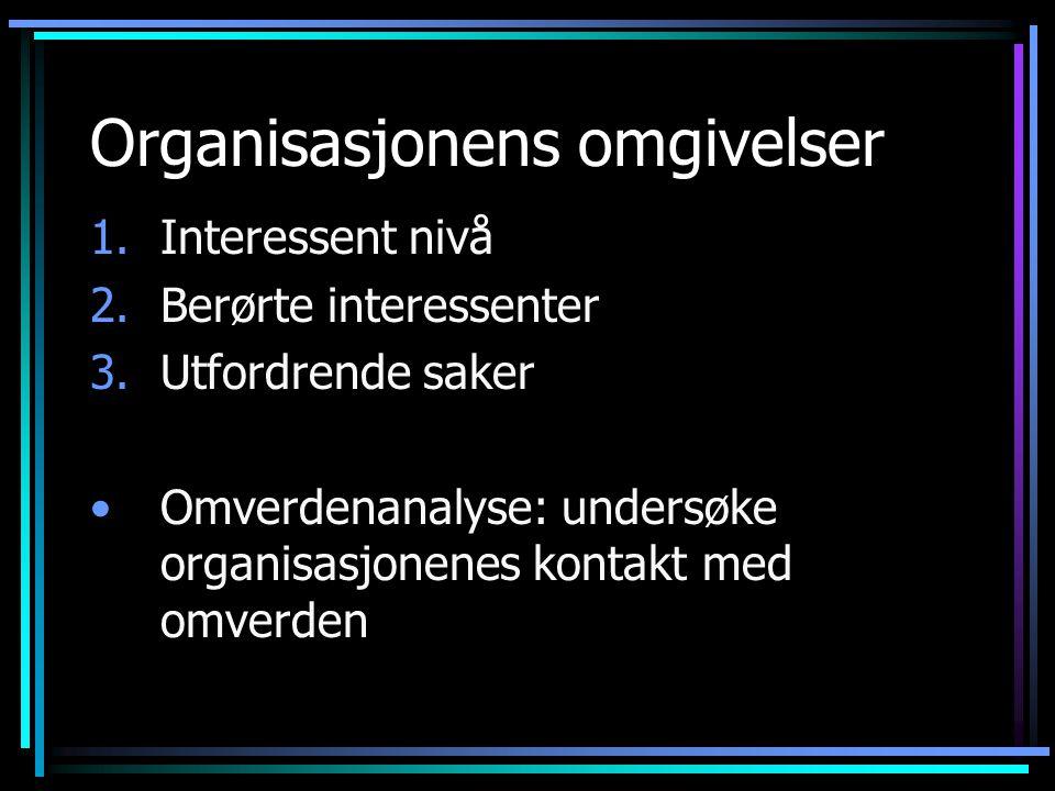 Organisasjonens omgivelser 1.Interessent nivå 2.Berørte interessenter 3.Utfordrende saker Omverdenanalyse: undersøke organisasjonenes kontakt med omverden