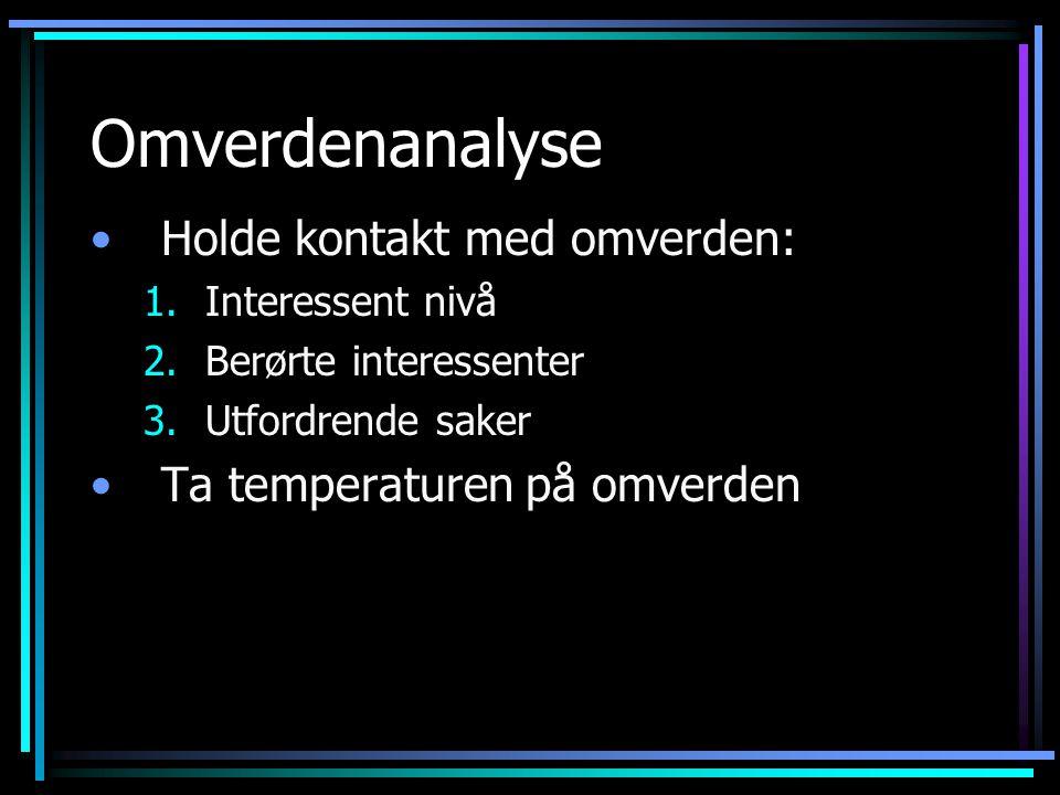 Omverdenanalyse Holde kontakt med omverden: 1.Interessent nivå 2.Berørte interessenter 3.Utfordrende saker Ta temperaturen på omverden