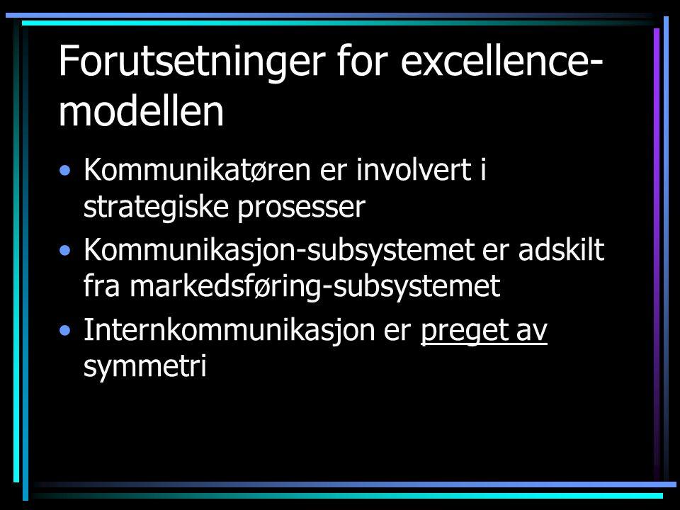 Forutsetninger for excellence- modellen Kommunikatøren er involvert i strategiske prosesser Kommunikasjon-subsystemet er adskilt fra markedsføring-subsystemet Internkommunikasjon er preget av symmetri