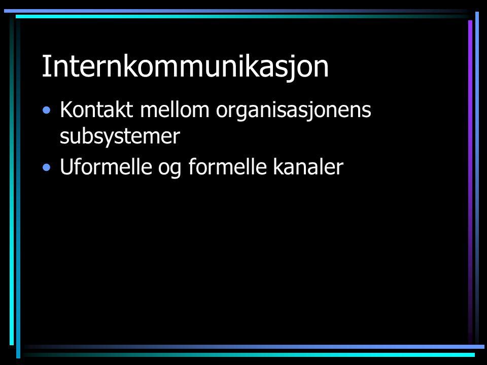Internkommunikasjon Kontakt mellom organisasjonens subsystemer Uformelle og formelle kanaler