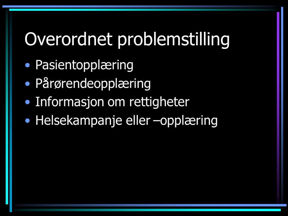 Kommunikasjonsutfordring 1.Overordnet problemstilling.