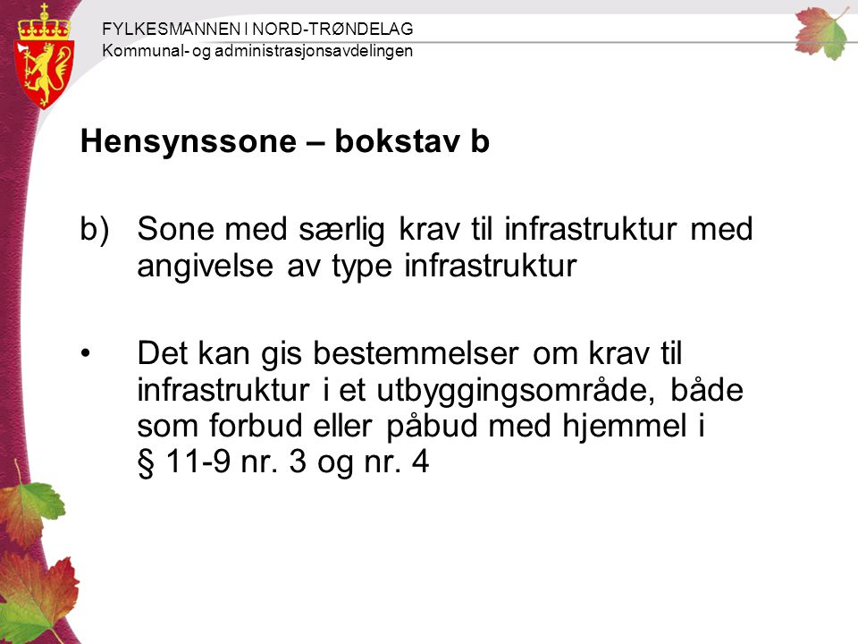 FYLKESMANNEN I NORD-TRØNDELAG Kommunal- og administrasjonsavdelingen Hensynssone – bokstav b b)Sone med særlig krav til infrastruktur med angivelse av