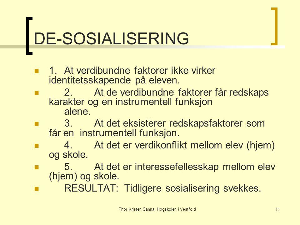 Thor Kristen Sanna, Høgskolen i Vestfold11 DE-SOSIALISERING 1.At verdibundne faktorer ikke virker identitetsskapende på eleven. 2.At de verdibundne fa
