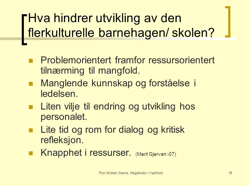 Thor Kristen Sanna, Høgskolen i Vestfold18 Hva hindrer utvikling av den flerkulturelle barnehagen/ skolen? Problemorientert framfor ressursorientert t