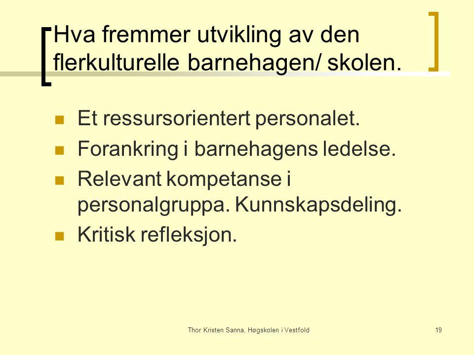 Thor Kristen Sanna, Høgskolen i Vestfold19 Hva fremmer utvikling av den flerkulturelle barnehagen/ skolen. Et ressursorientert personalet. Forankring