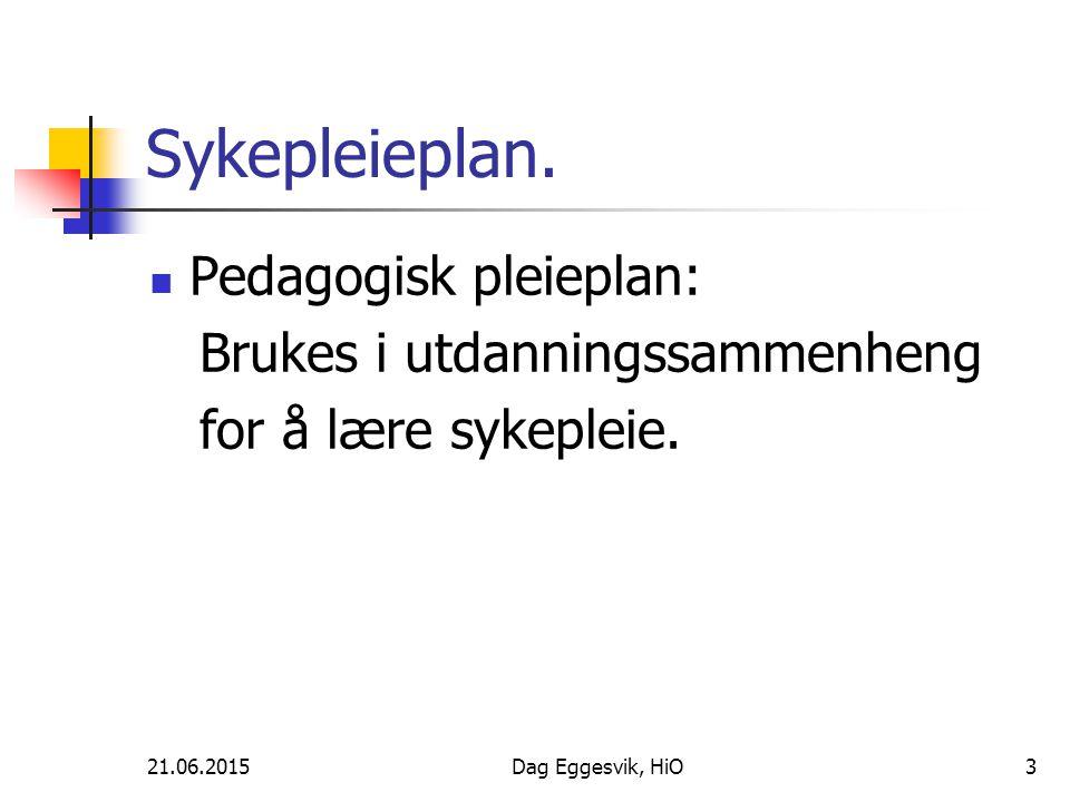 21.06.2015Dag Eggesvik, HiO3 Sykepleieplan. Pedagogisk pleieplan: Brukes i utdanningssammenheng for å lære sykepleie.