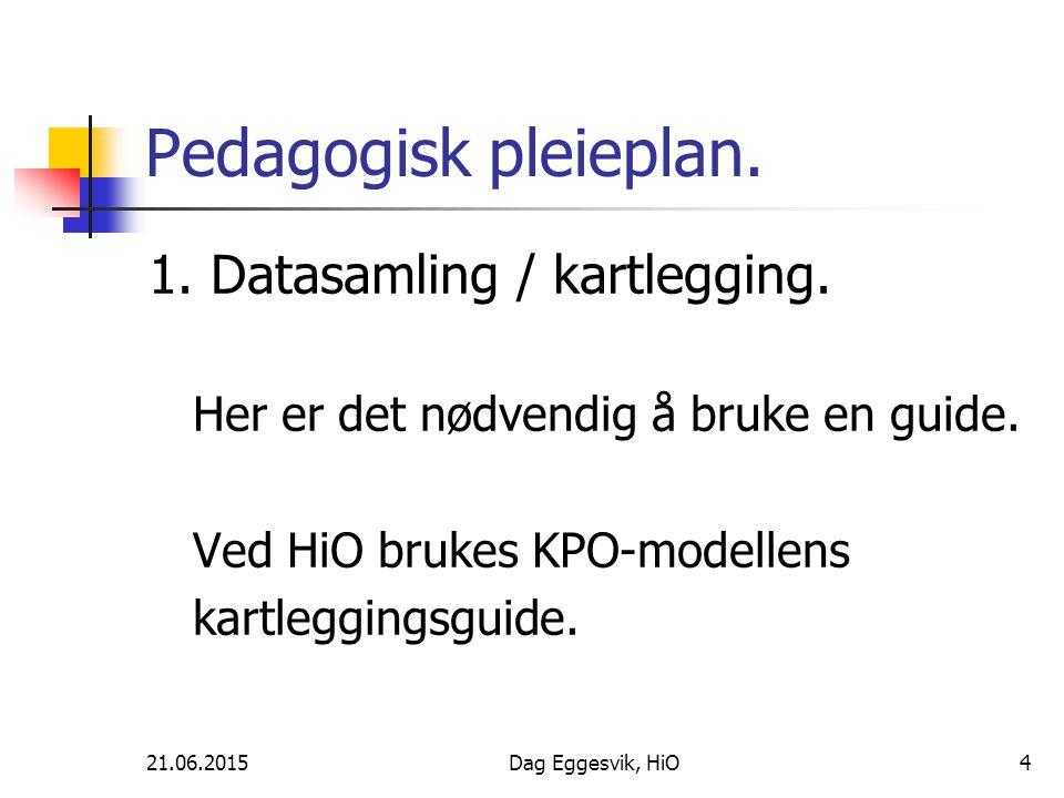 21.06.2015Dag Eggesvik, HiO4 Pedagogisk pleieplan. 1. Datasamling / kartlegging. Her er det nødvendig å bruke en guide. Ved HiO brukes KPO-modellens k