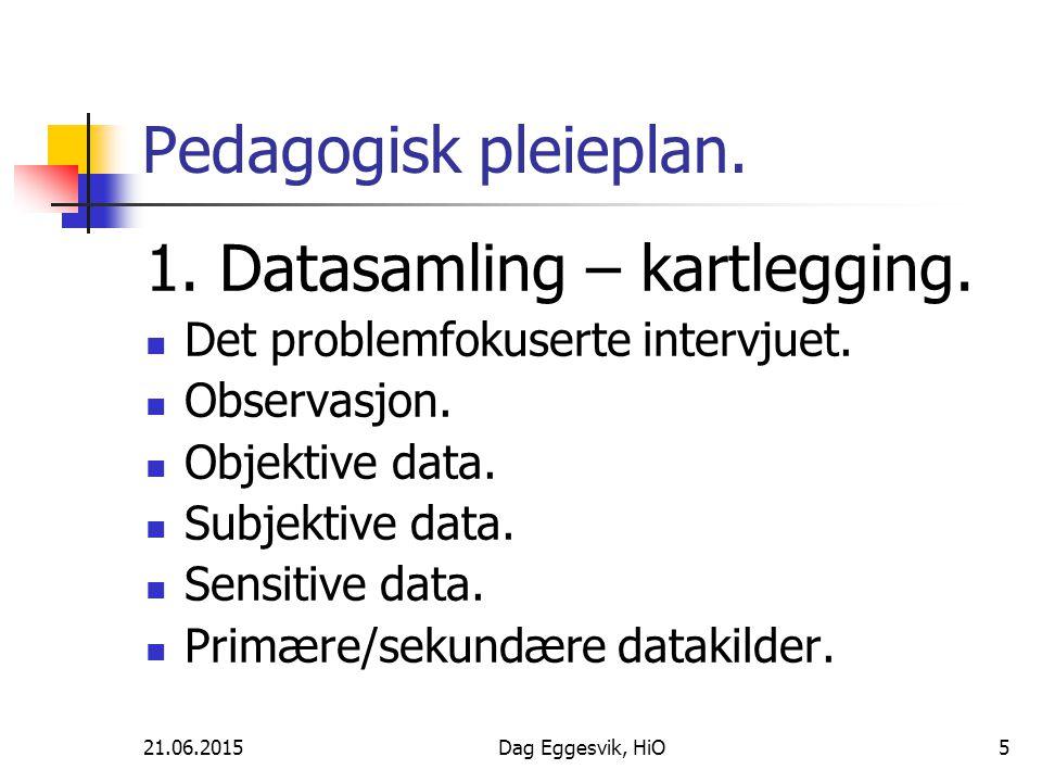 21.06.2015Dag Eggesvik, HiO5 Pedagogisk pleieplan. 1. Datasamling – kartlegging. Det problemfokuserte intervjuet. Observasjon. Objektive data. Subjekt