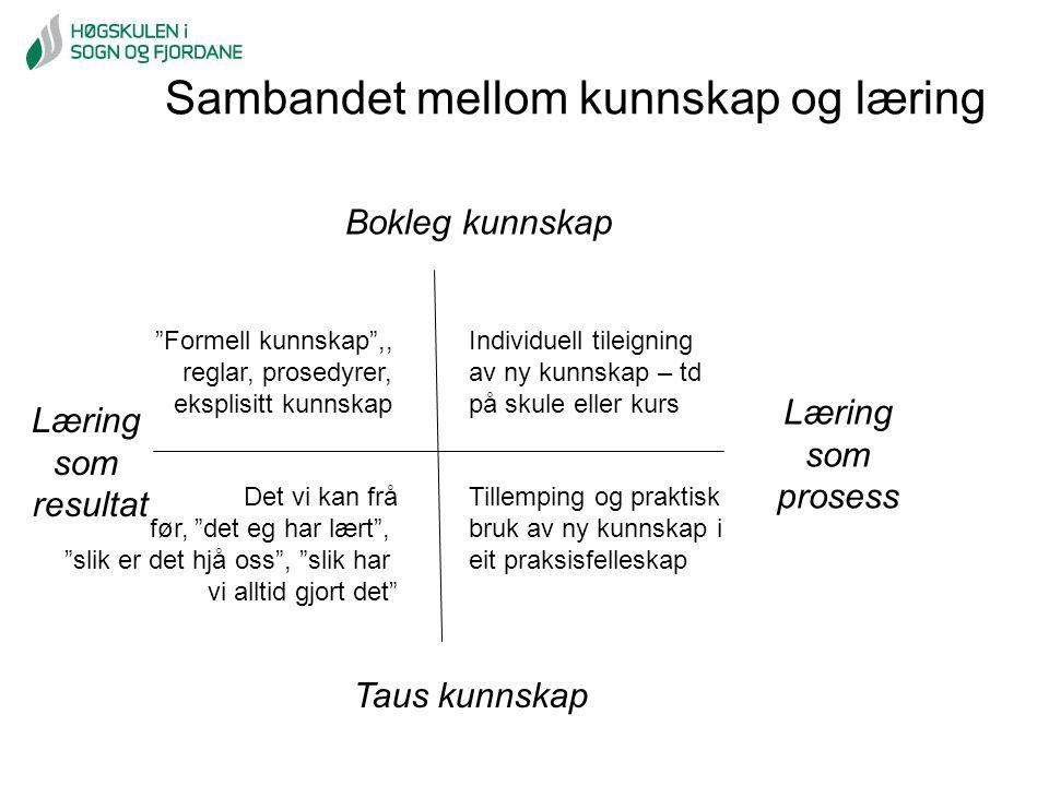 """Sambandet mellom kunnskap og læring Læring som resultat Læring som prosess Bokleg kunnskap Taus kunnskap """"Formell kunnskap"""",, reglar, prosedyrer, eksp"""