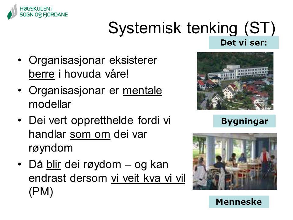 Systemisk tenking (ST) Bygningar Menneske Det vi ser: Organisasjonar eksisterer berre i hovuda våre! Organisasjonar er mentale modellar Dei vert oppre